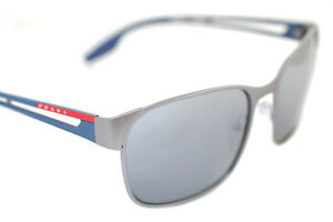 PRADA SPORT 52TS DG1-2F2 POLARIZED Mens Sunglasses GUNMETAL BLUE *SILVER MIRROR*