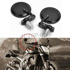"Black Handle 7/8"" Bar End Motorcycle Rear View Side Mirrors For Honda GROM 125"