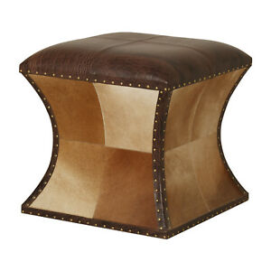 Genuine Hair-On Brown Leather Puffy, Sitting Pouf, Ottoman