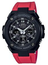 Casio G-Shock G-STEEL * GSTS300G-1A4 Solar Midsize Black Case Red Resin Watch