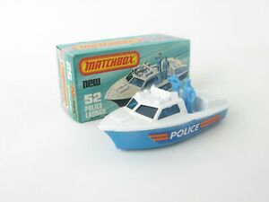 Matchbox Superfast 52 Police Launch Boat Without Horns Crisp K Box With New
