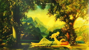 art nouveau vintage art new print  in the style of Maxfield Parrish