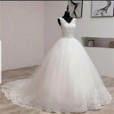 UK Plus Size Light Ivory Sleeveless Lace V Neck A Line Wedding Dresses Size 6-26