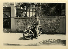 PHOTO ANCIENNE - VINTAGE SNAPSHOT - MOTO MOTOCYCLETTE HOMME - MOTORCYCLE