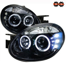 03-05 Dodge Neon Dual Halo Projector Headlights LED Black Housing Smoked Lens