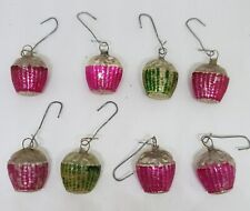 Lot of 8 Vintage Antique Mercury Glass Christmas Feather Tree Cupcake Ornaments
