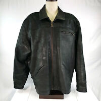 Mens 4XL Black Leather Biker Jacket Vintage Metal Buckle Side Straps Axiom Zip