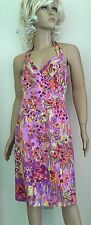 KAY UNGER Purple Multi Floral Silk Halter Cocktail Dress Size 10 Fully Lined