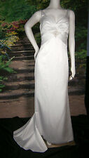 DESTINY WEDDING GOWN WHITE SIZE 6-8 SATIN CRYSTALS BEADS COLUMN SHEATH