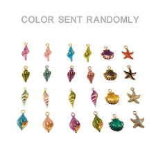19 pcs Colorful Alloy Enamel Mixed Shell Seastar Charms Pendants Crafts Findings