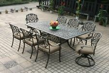 "9 Piece Elisabeth Cast Aluminum 9pc Patio Dining Set With 84"" Rectangle Table"
