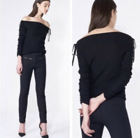 Veronica Beard Jeans Nolan Ballet Off The Shoulder Sweater Black Size Small Rib