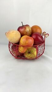 Farmhouse Decor Rustic Red Wire Basket Wood Handles Artificial Fruit Country