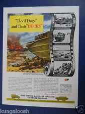 1945 U.S. MARINES DEVIL DOGS AND THIER DUCKS AT PELELIU, GMC WWII WAR EFFORT AD
