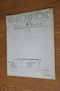 Marconiphone Model 314 3 Valve Battery Receiver Genuine Service Manual