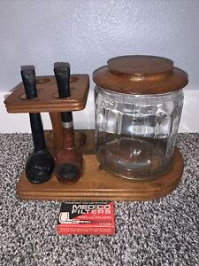 Solid Walnut 4 Pipe Holder with Glass Humidor by Decatur With 2 Pipes And Filter