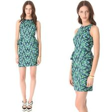 Milly Thea Dress Size 8 Blue Green Peplum Chevron Sheath $376