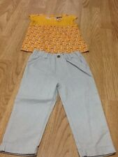 Baby Girl Size 18-24 Owl Mustard Top & Grey Jean Trousers - Brand New