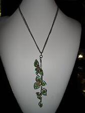 Rhinestone Crystal Statement Necklace Silver Green Leaves Huge Genuine Spring