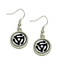 45 Adapter Music Record Dangling Drop Charm Earrings