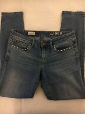 Gap Women's Light Wash Denim Always Skinny Jeans W/ Studs On Pockets Size 28 / 6
