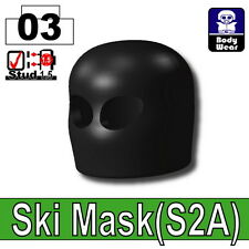 Black Ski Mask (W265) Army Balaclava compatible with toy brick minifigures Black