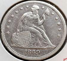 1849 Seated Liberty Dollar One Dollar $1 Rare Type Coin High Grade XF + #12048