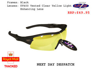 RayZor Black Sports Wrap Sunglasses Uv400 Light Enhancing Yellow Lens (22