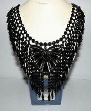 VICTORIAN FRENCH JET FESTOON NECKLACE MOURNING BIB NECKLACE VAUXHALL GLASS DROPS
