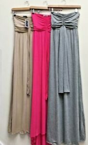 NEW PACK OF 3 BANDEAU MAXI DRESSES PINK/GREY/ BEIGE ALL SIZE S/M UK 8/10 BNWT