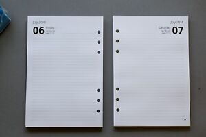 2021-2022 A5 Refills | 1 Day Per Page | Fits Filofax | START ANY MONTH!
