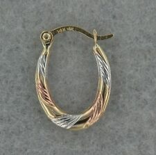 14k Tricolor Gold Hoops Small. Great for Small Children. Hollow Oval Earring.