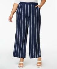 Charter Club Women's Plus Blue Mid Rise Striped Cropped Pull On Pants Size 1X