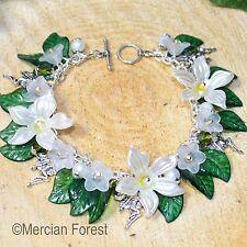 Twilight Fairy Jasmine and Moonflower Bracelet - Fae Jewellery, Pagan, Sidhe