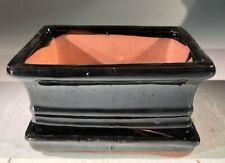 "Black Ceramic Bonsai Pot Rectangle+Humidity Drip Tray 6"" x 4.5"" x 3"" for Plant"