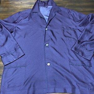 Brioni mens silk pajamas top shirt navy dots XL Italy