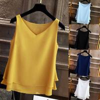 Women's Summer Sleeveless Chiffon Shirt Solid V-neck Casual Blouse Top Tank DZ
