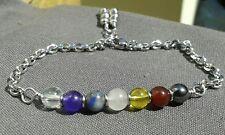Handmade 7 Chakras Natural Gemstones Silver Chain Bracelet  Adjustable