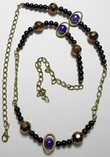 "Bronze, Black, Blue glass beaded necklace, 27"" - 33"" adjustable"
