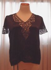 DKNY PURE FAB SILK BLOUSE WITH ELEGANT CROCHET, BEAUTIFULLY DONE, PERFECT FOR AL