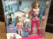 2000 Mattel Barbie, Stacie, And Kelly Skiing Vacation! Working Chair Lift! NIB!