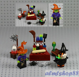 14 pcs Lot Halloween Skeleton Witch Spider Cauldron Minifigure Pumpkin LEGO