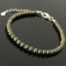 Metallic Luster Pyrite Bracelet Fool's Gold 4mm Stone Sterling Silver Chain 1509