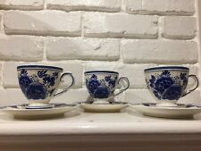 Delf Blue Handpainted In Holland 3 Small Cups And Saucers