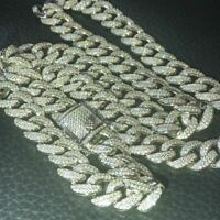 Mens Cuban Miami Link 12mm Chain Solid 925 Silver 40-60ct Lab Diamonds 18-30""