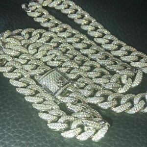 Mens Cuban Miami Link 12mm Chain 925 Silver 40-60ct Man Made Diamonds 18-30""