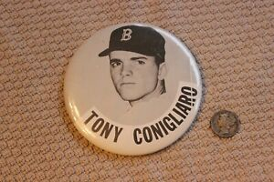 "1960's Tony Conigliaro Boston Red Sox 3 1/2"" stadium baseball pin (Odd size)"