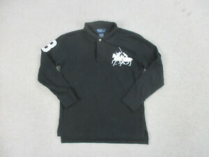 Ralph Lauren Polo Shirt Youth Small Black White Big Pony Long Sleeve Kid Boy *