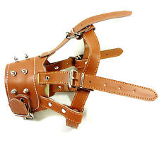 Adjustable Safe Soft Leather Spiked Studded Dog Muzzle Pitbull Bully Boxer Husky