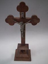 Holz Kreuz Standkreuz mit Jesus wohl um 1900 Kruzifix Eichenholz ca 40 cm hoch